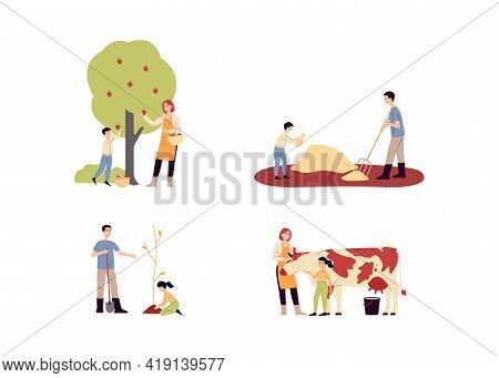 Family Farm Set Of Characters Working In Farm, Flat Vector Illustration Isolated.
