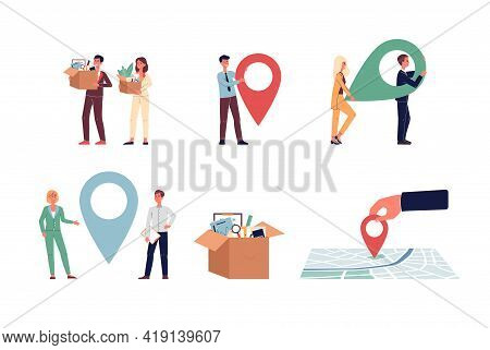 Set Of Vector Illustrations Of Office Relocation, Move Business At New Address