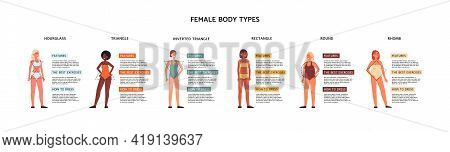 Female Body Types In Classification Of Geometric Shapes, Vector Illustration.