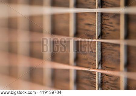 Background Musical Instrument, Wooden Guitar Strings Closeup