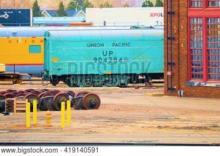 April 26, 2021 In Cheyenne, Wy:  Union Pacific Railroad Yard With Vintage Rail Cars Taken In Cheyenn