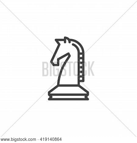 Chess Knight Line Icon. Linear Style Sign For Mobile Concept And Web Design. Horse Chess Piece Outli