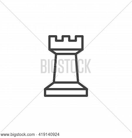 Chess Rook Piece Line Icon. Linear Style Sign For Mobile Concept And Web Design. Rook Figure Outline