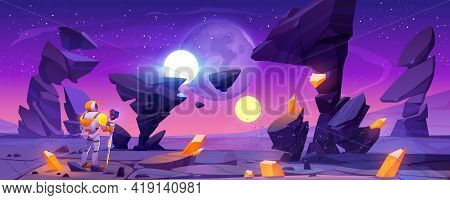 Astronaut On Alien Planet In Far Galaxy. Cosmonaut In Suit And Helmet Holding Staff Stand On Ground