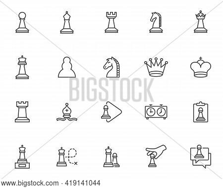 Chess Game Line Icons Set. Linear Style Symbols Collection, Outline Signs Pack. Vector Graphics. Set