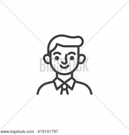 Young Boy Avatar Line Icon. Linear Style Sign For Mobile Concept And Web Design. Man With Necktie Ou