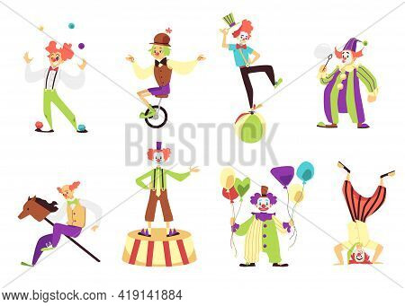Clowns Performing Tricks And Acrobatics, Flat Vector Illustration Isolated.
