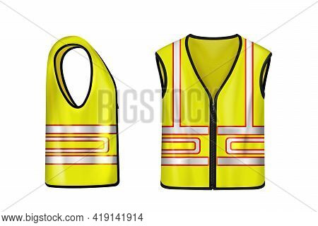 Yellow Safety Vest With Reflective Stripes, Uniform For Construction Works, Drivers And Road Workers