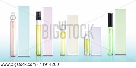 Perfume Sample Bottles And Boxes Mockup Set, Fragrance In Small Vials With Pumps And Bungs. Beauty A