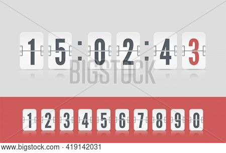 White Scoreboard Number Font. Vector Modern Ui Design Old Countdown Timer. Coming Soon Web Page With
