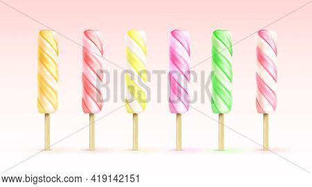 Spiral Ice Cream, Fruit Popsicle On Wooden Stick. Vector Realistic Set Of Twisted Frozen Juice Isola