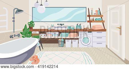 Bathroom Interior. Cartoon Toilet Room With Bathtub And Washing Machine. Mirror Over Enamel Sink. Ho