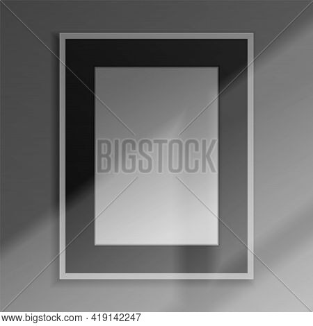 Realistic Frame. 3d Blank Framework With Shadow Overlay Effect. Square Banner Hanging On Wall. Pictu