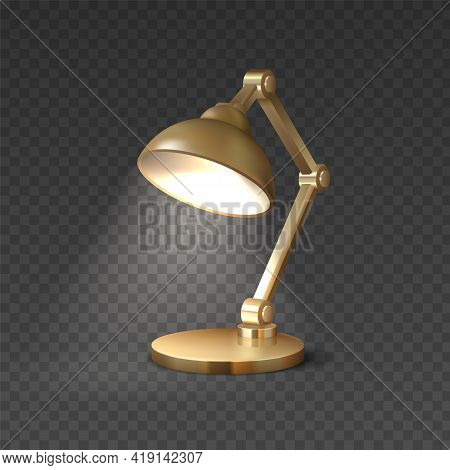 Realistic Table Lamp. 3d Light Furniture. Electric Illuminated Equipment For Interior Design. Isolat
