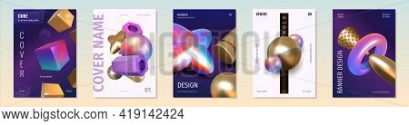 Render Shapes Posters. Abstract 3d Holographic Metallic Elements. Golden And Iridescent Geometric Fi