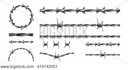 Realistic Barbed Wire. Prison Metal Fence Elements. 3d Military Border. Jail Protective Barrier. Typ