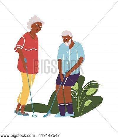 Elderly Man And Woman Play Golf. Cartoon Old Active People. Golfers Roll Ball Into Hole. Grandparent