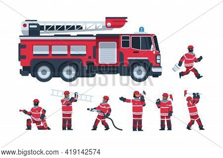 Fireman. Cartoon Fire Engine And Firefighters. Professional Rescuers Extinguish Flame Using Hose And