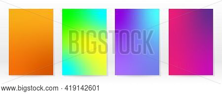 Minimal Poster. Pastel Soft. Rainbow Gradient Set. Graphic Color Background. Blurred Mesh Texture. V