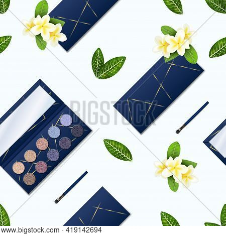 Eyeshadow Pattern. Realistic Seamless Texture Of Makeup Palette With Glitter Shadows. Opened Or Clos