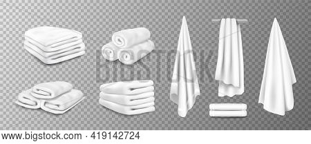 Realistic Towels. 3d Bathroom Terry Cloth. Rolled Or Stacked Soft Fabric On Transparent Background.