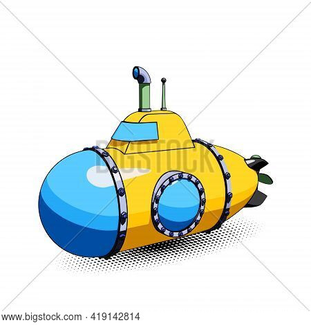 Yellow Cartoon Submarine With Periscope And Large Portholes. Vector Illustration Isolated On A White