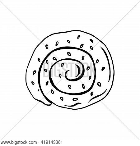 Vector Illustration Of A Bun With Sesame Seeds On A White Background