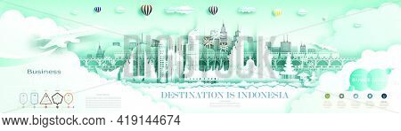 Travel Indonesia Top World Famous City Ancient And Palace Architecture. Modern Business Brochure Des