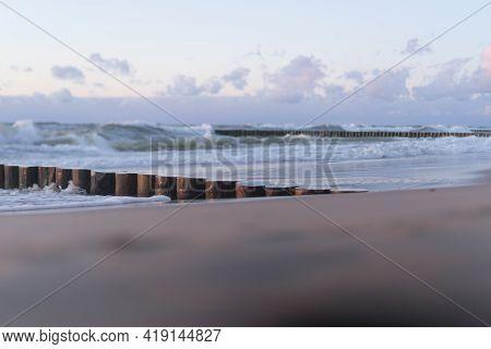 Waves On The Sea Panorama. Sunset On The Sea.