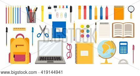 Flat Vector Illustration Of Set Of School And Office Supplies. Back To School Concept
