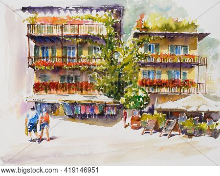 Limone Sul Garda, Lombardy, Italy. Centrum Of The City With Shops And Colorful Houses. Picture Creat