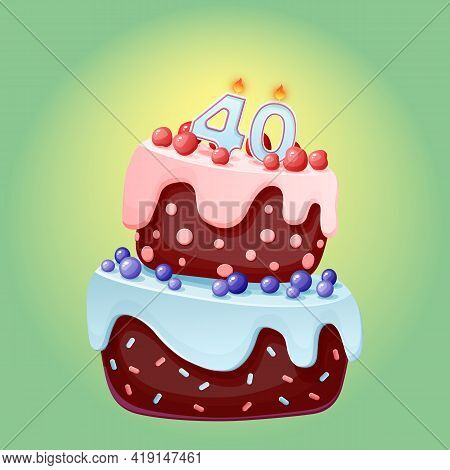Forty Years Birthday Cake With Candles Number 40. Cute Cartoon Festive Vector Image. Chocolate Biscu