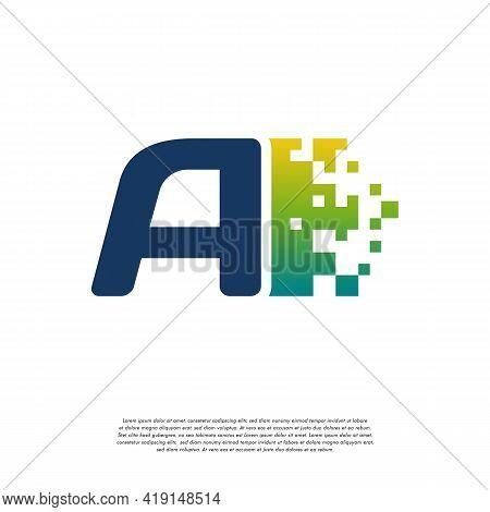 A Initial Tech Logo Vector, Cool Initial Pixel Logo Template Vector