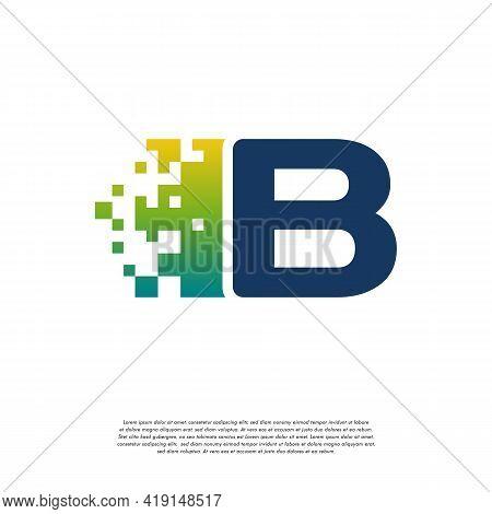B Initial Tech Logo Vector, Cool Initial Pixel Logo Template Vector