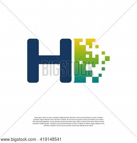 H Initial Tech Logo Vector, Cool Initial Pixel Logo Template Vector