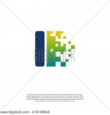 I Initial Tech Logo Vector, Cool Initial Pixel Logo Template Vector
