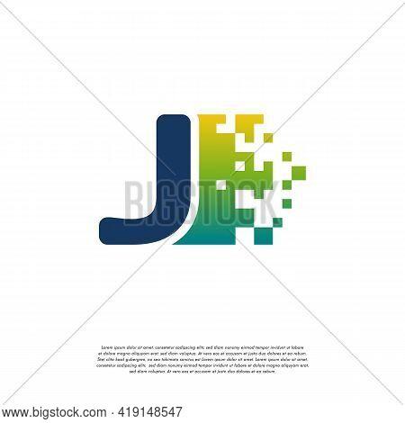 J Initial Tech Logo Vector, Cool Initial Pixel Logo Template Vector
