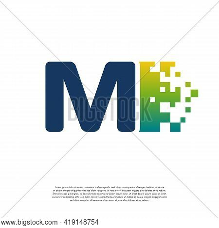 M Initial Tech Logo Vector, Cool Initial Pixel Logo Template Vector