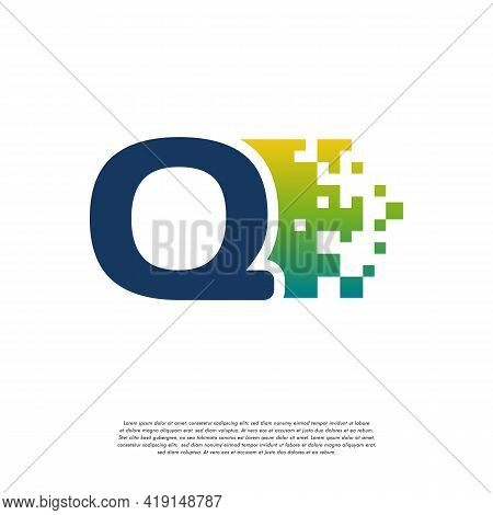 Q Initial Tech Logo Vector, Cool Initial Pixel Logo Template Vector