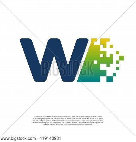 W Initial Tech Logo Vector, Cool Initial Pixel Logo Template Vector
