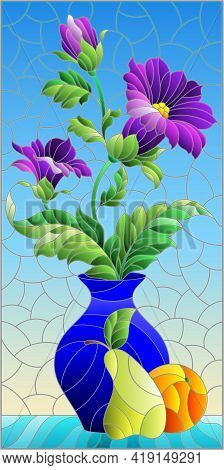 Illustration In The Style Of A Stained Glass Window With A Floral Still Life, A Vase With Purple Flo