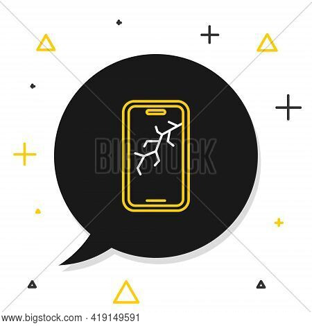 Line Smartphone With Broken Screen Icon Isolated On White Background. Shattered Phone Screen Icon. C