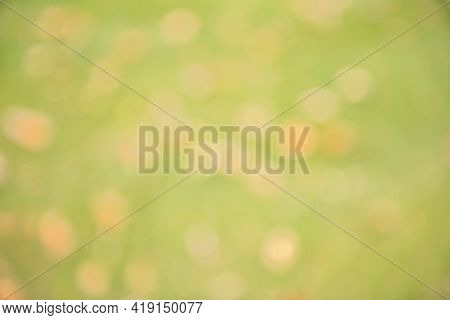 Blurred Unfocused Background With Orange And Beige Bokeh On Grass Green Background. Empty Multicolor