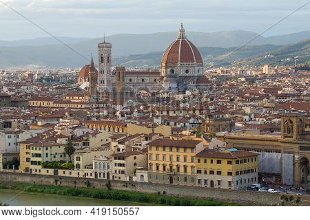 View Of The Cathedral Of Santa Maria Del Fiore On A September Afternoon. Italy, Florence