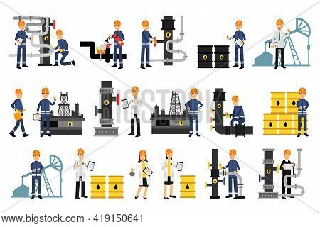 Male Character Working In Petroleum Industry Vector Illustration Set