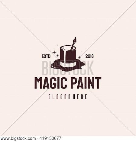 Magic Paint Logo Hipster Retro Vintage Vector Template, Paint Art Logo