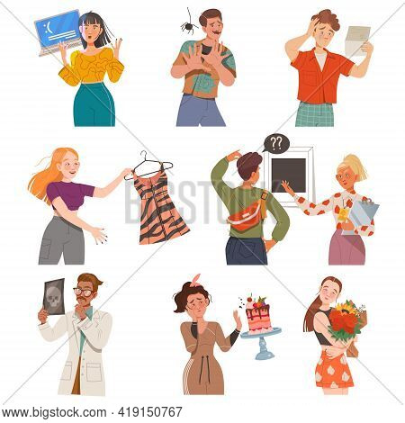 People Characters Looking At Something With Different Emotions Vector Illustration Set