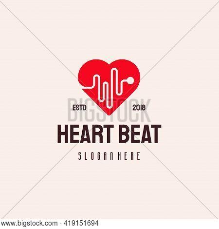 Heart Beat Logo Hipster Retro Vintage Vector Template, Love Health Logo Designs Concept, Health Logo