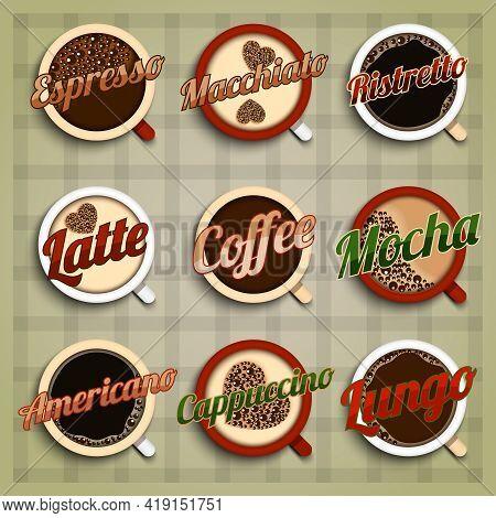 Coffee Menu Labels Set With Espresso Macchiato Ristretto Latte Mocha Americano Cappuccino Lungo Isol