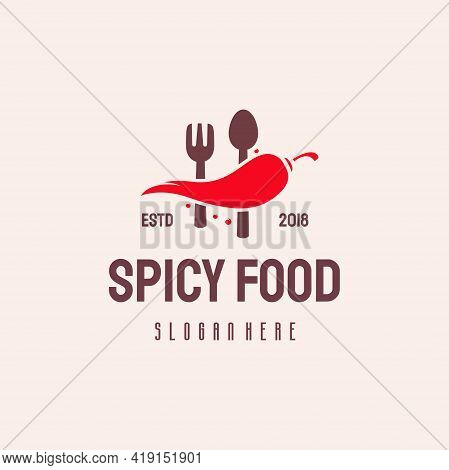 Spicy Food Logo Hipster Retro Vintage Vector Template